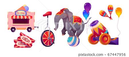 Circus stuff and elephant on ball, big top tent 67447956