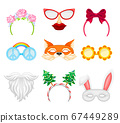 Carnival or Party Headband, Masks and Glasses Vector Set 67449289