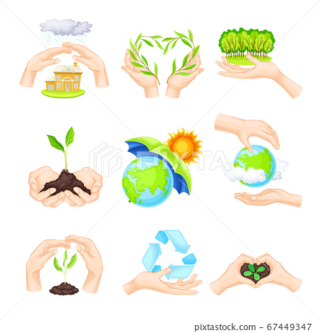 Hands Holding Soil and Green Plant as Nature Protection Vector Illustration Set 67449347