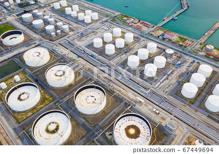 Top view of oil refinery plant chemical factory 67449694