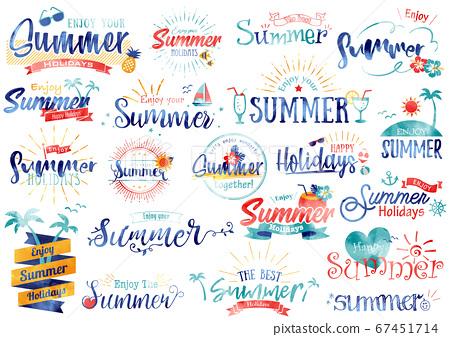 熱帶夏季標題字母水彩風格 67451714