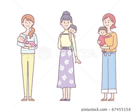 一組抱著和抱著嬰兒的婦女 67455158
