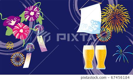 나팔꽃과 불꽃 놀이와 맥주의 여름 이미지 67456184