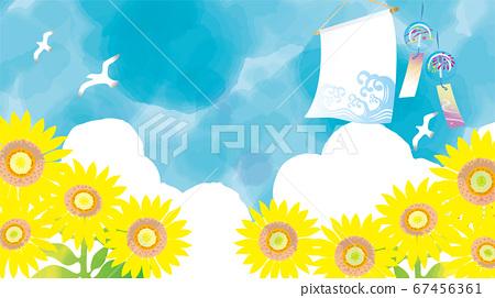 清新的牽牛花,如水彩和藍天 67456361