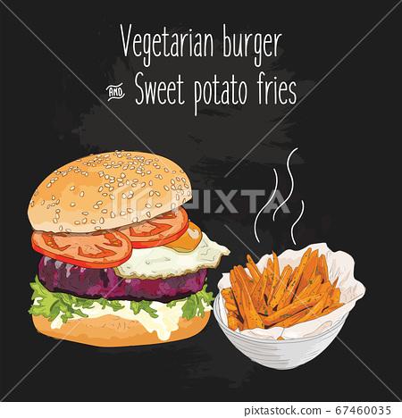 Hand drawn colorful vegetarian burger and sweet potato fries 67460035