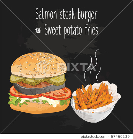 Hand drawn colorful salmon steak burger and sweet potato fries 67460139