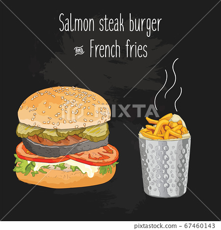 Hand drawn colorful salmon steak burger and french fries in metal cup 67460143