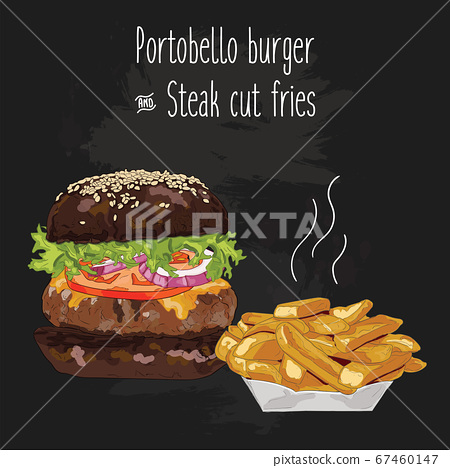 Hand drawn colorful portobello burger and steak cut fries 67460147