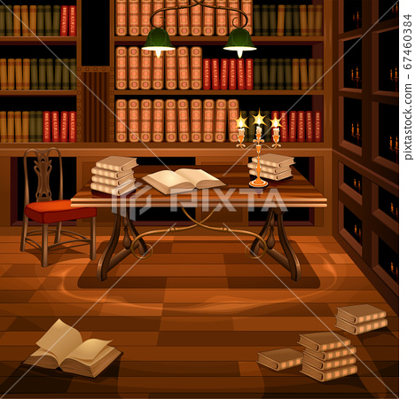 Ancient room with bookcase 67460384