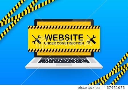 Website Under construction sign on laptop. Vector illustration for website. 67461076