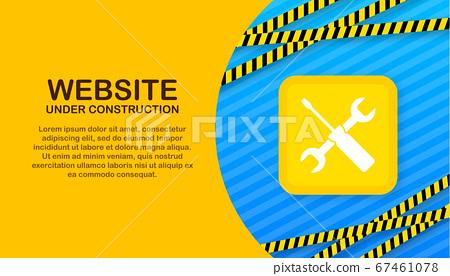 Website Under construction sign on laptop. Vector illustration for website. 67461078