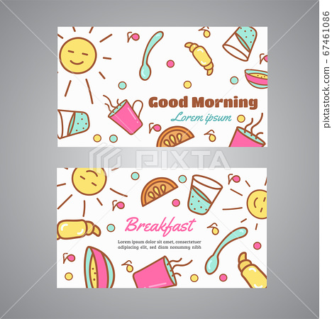Good Morning text. Breakfast slogan. Cafe, bakery concept business card. Coffeee and tea vector design Line icons vector 67461086