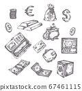 Finance, money set. Hand drawn finance vector sketch icons. Bank, payment, investment doodle Dollar Banknotes and Coins Vector illustration Elements for business presentations, web and advertising 67461115