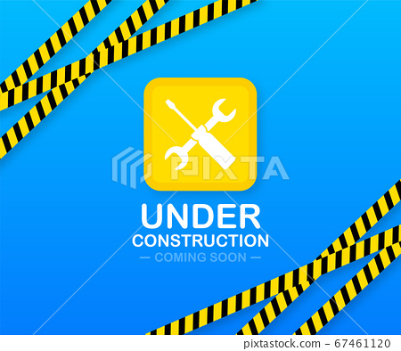 Under construction website page with black and yellow striped borders. Border stripe web. Vector illustration. 67461120
