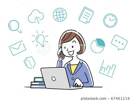 矢量圖材料:在個人計算機上工作時打電話的女商人 67461219