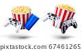 Flying popcorn and video game joystick gamepad isolated on a white background 67461265