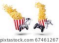Flying popcorn and video game joystick gamepad isolated on a white background 67461267