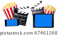 Flying popcorn, film clapper board and phone isolated on white background 67461268