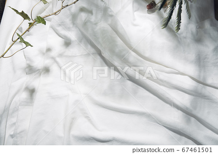 A white cloth reflecting natural light and shadows of leaves 67461501