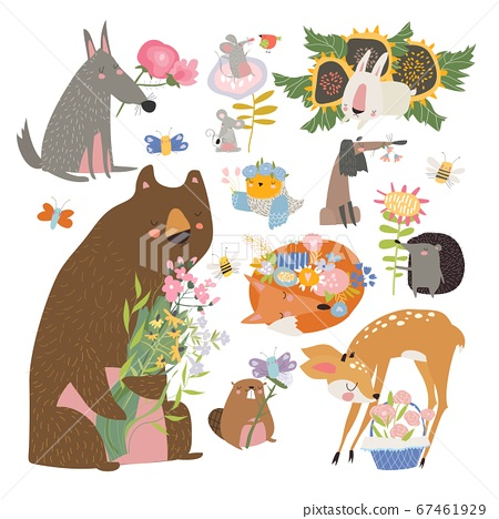 Cartoon set with cute animals holding bouquet of flowers 67461929
