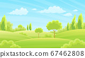 Lush forests and grasslands With hills and sky 67462808