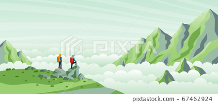 Travelers come to the top of a mountain to watch 67462924