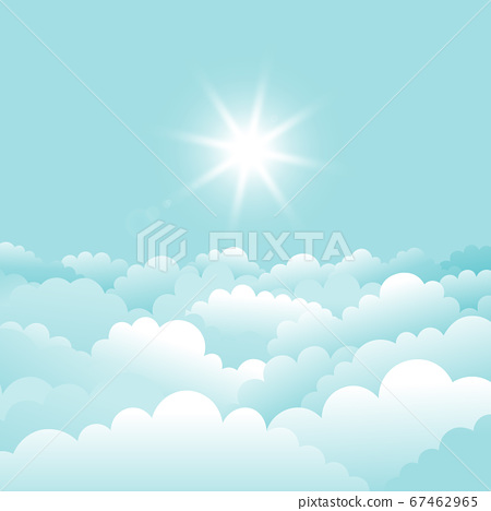 Vector sky With clouds and sun.  67462965