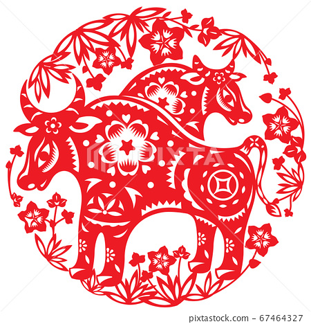 Chinese Year of OX vector illustration in paper cut style 67464327