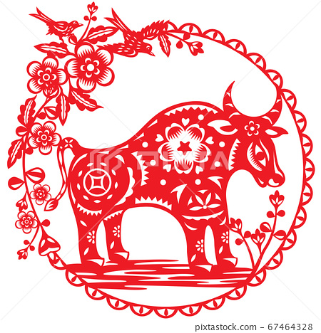 Chinese Year of OX vector illustration in paper cut style 67464328