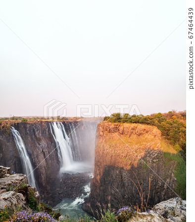 Victoria falls top view in Zambia under white sky 67464439