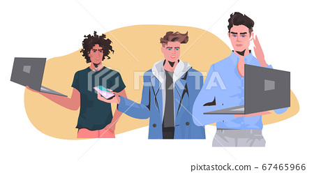 mix race men holding digital devices guys in casual trendy clothes male cartoon characters 67465966