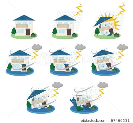 矢量圖組的房屋遭受雷擊 67466551