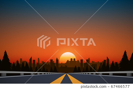 landscape of road to city in the mountain in sunset 67466577
