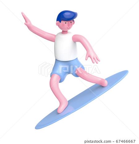 3D cartoon surfer character 67466667