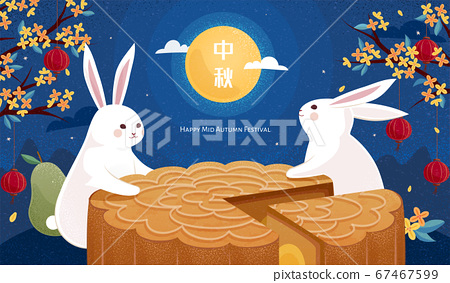 Rabbits enjoying cantonese mooncake 67467599