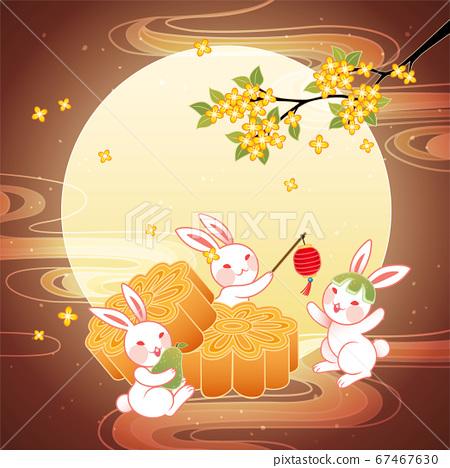 Jade rabbits enjoying mooncakes 67467630