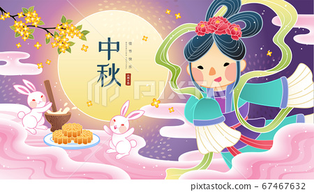 Lovely Chang e with jade rabbits 67467632