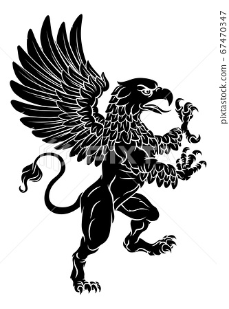 Griffon Rampant Griffin Coat Of Arms Crest Mascot 67470347