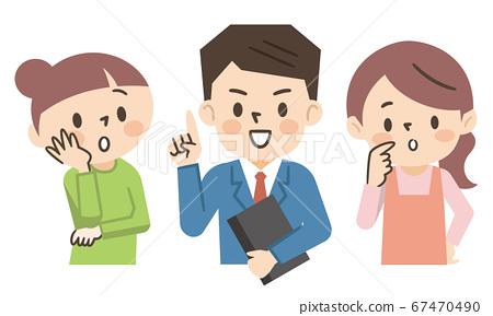 一個有疑慮和憂慮的家庭主婦和一個解決問題的商人 67470490