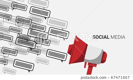 Megaphone And Social Media Message Icons Over Gray Background, Illustration 67471807
