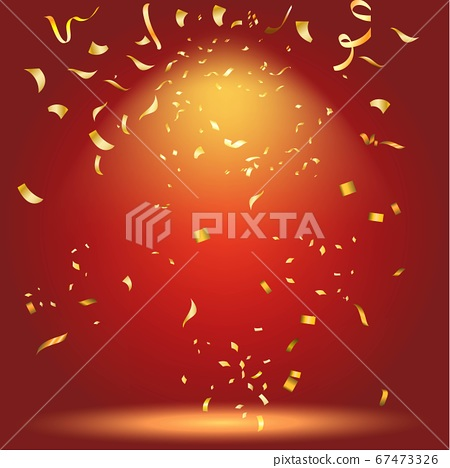 Colorful bright Golden confetti  on red 67473326