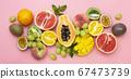 Summer fruits backround. Various fruits on pink 67473739