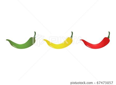 Three pepper colors. Chili peppers mild medium hot 67473857