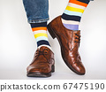 Men's legs, trendy shoes and bright socks 67475190