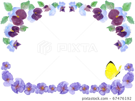 Watercolor Pansy and Colias Butterfly Frame Illustration Box Frame 67476192