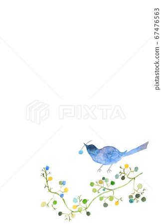 Watercolor postcard blue bird and kazu 67476563
