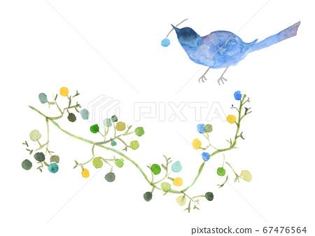 Watercolor postcard blue bird and kazu 67476564