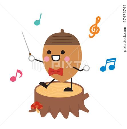 指揮指揮音樂橡子橡子秋天的插圖 67476743