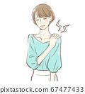 어깨 결림에 고민하는 여성 67477433