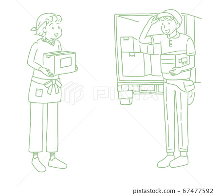 A woman and a truck delivery agent picking up and delivering items by mail order 67477592